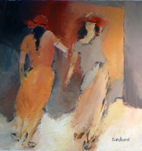 2 Femmes - 0,50mx0,50m - Acrylique sur toile 2013