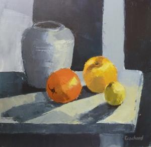 Fruits e Pot Acrylique sur toile 2015 40x40cm