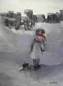 La Dame à l'Echarpe Rouge et son chien Acrylique sur toile 2015 50x70cm