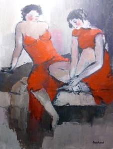 Femmes en Rouge Acrylique sur toile 2015 65x90cm