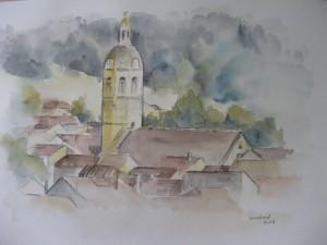 Eglise de Vaux en Bugey - Aquarelle sur papier - 50/65cm - octobre 2008