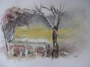 Chavornay dans le Bugey - Aquarelle sur papier - 50/65cm - Octobre 2008