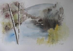 L'Albarine - Bugey - Aquarelle sur papier - 50/65cm - octobre 2008