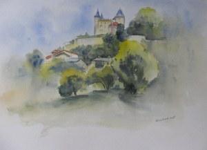 Chateau de Varey dans le Bugey - Aquarelle sur papier- 50/65cm - octobre 2008