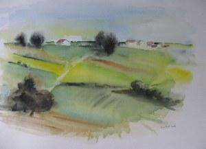 Vue du Beaujolais - Aquarelle sur papier - 50/65cm - octobre 2008