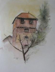 Pigeonnier à Bagé le Châtel (Ain) - Aquarelle sur papier - 50/65cm - octobre 2008