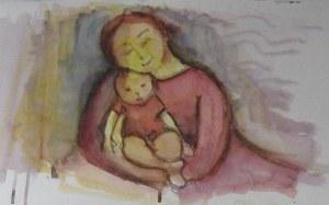 Mère et enfant - Aquarelle sur papier - 42/26cm - 2007