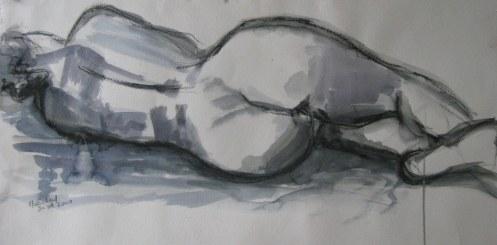 Nu féminin - croquis sur papier - 75/42cm - 2007