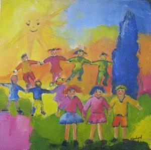 Ronde enfantine - Acrylique sur toile - 40/40cm - 2008