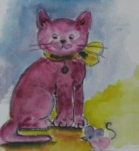 Le Chat - Aquarelle sur papier - 13/18cm - octobre 2008