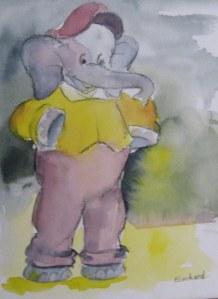 L'éléphant - Aquarelle sur papier - 13/18cm - octobre 2008