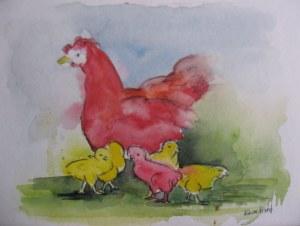 la poule et ses petits - Aquarelle sur papier - 13/18cm - octobre 2008
