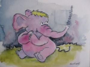 Mademoiselle éléphant - Aquarelle sur papier - 13/18cm - octobre 2008