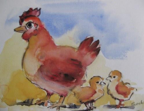 Poule et poussins - Aquarelle sur papier - 13/18cm - octobre 2008