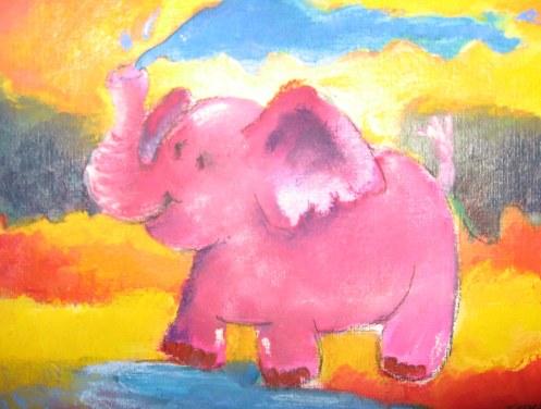 Eléphant qui boit - Aquarelle sur papier - 13/18cm - octobre 2008
