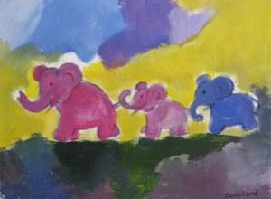Eléphants en ballade - acrylique sur papier - 13/18cm - octobre 2008