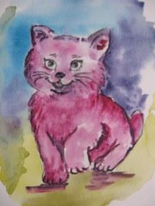petit chat - Aquarelle sur papier - 13/18cm - octobre 2008