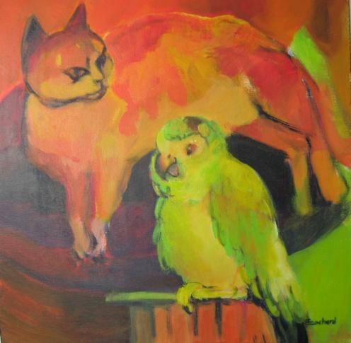 Le Chat et l'Oiseau - Acrylique sur toile- 40/40cm - 2008
