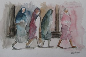 Dans la rue - Aquarelle sur papier - 20/30cm - octobre 2008