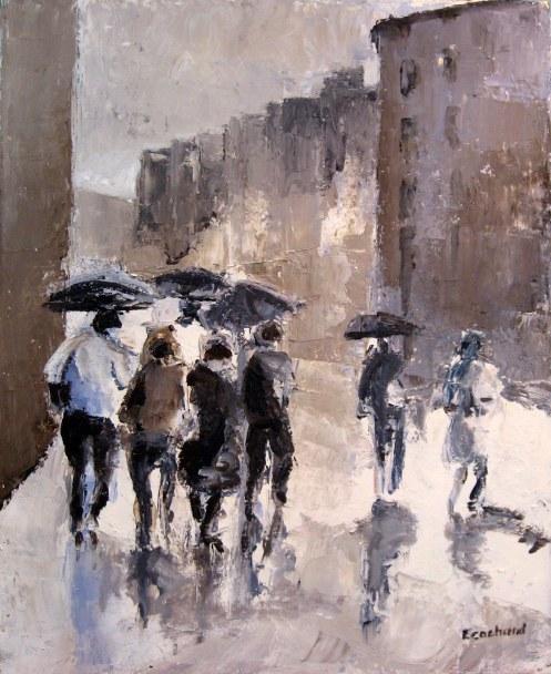 Sous la pluie - Acrylique sur toile - 2009