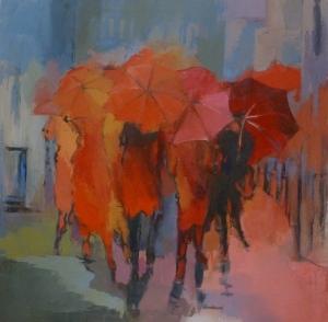 Les Parapluies Acrylique sur toile 2013 80/80cm