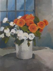 Fleurs blanches et orangées - Acrylique sur toile 2013