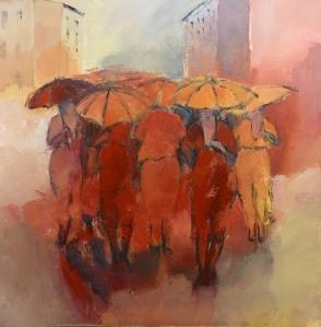 La Pluie en Rouge Acrylique 2016 80x80cm
